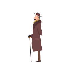 Elegant victorian gentleman character in brown vector