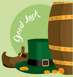 Elf hat and shoes with coins st patricks day vector