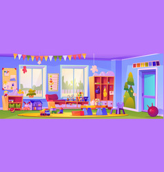 Empty kindergarten classroom with toys and cubes vector