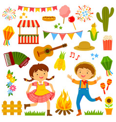 Festa junina cartoons set vector