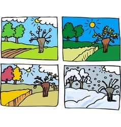 Four seasons cartoon vector