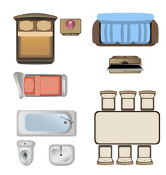 Furniture design elements top view vector