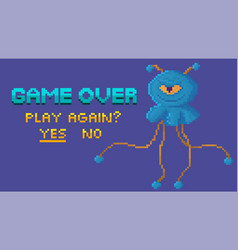 Game end and restart selection interface pixel vector
