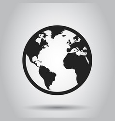 Globe world map icon round earth flat planet vector