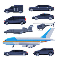 Government vehicles set black presidential auto vector