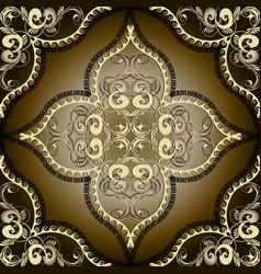 Greek vintage gold 3d floral seamless pattern vector
