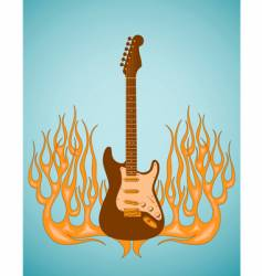 guitar flames vector image