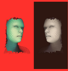 Head of the person from a 3d grid face scanning vector
