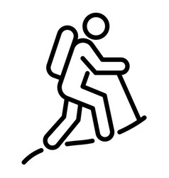 Hiking man icon outline style vector