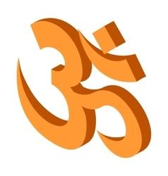 Hindu om symbol icon isometric 3d style vector image