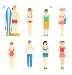 Icons of kids in summer clothing and swimsuits vector image