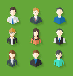 Icons Set of Male Female Faces in business theme vector image