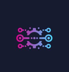Integration optimization icon with cogwheel vector