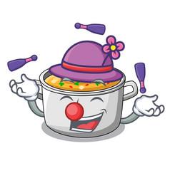 Juggling cartoon homemade stew soup in the pot vector