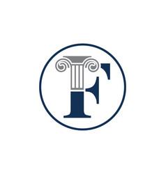 Letter f and law pillar logo design column logo vector