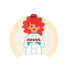 Little caucasian redheaded girl carries or keeps vector
