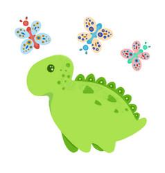 little dinosaur and butterflies vector image