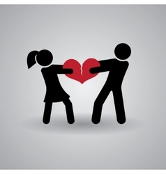 Love and Relationship Stickmans Broken Heart vector image