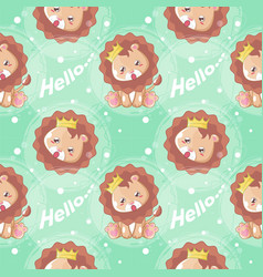 nd drawn happy cute lion with pattern set vector image