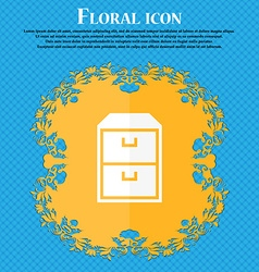 Nightstand icon Floral flat design on a blue vector