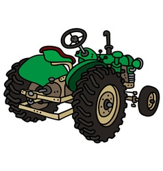 Old green tractor vector