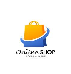 Online shop logo design icon shopping logo design vector