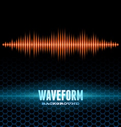 Orange shiny sound waveform on hex grid vector