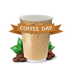 Paper cup coffee with leaves and beans concept vector