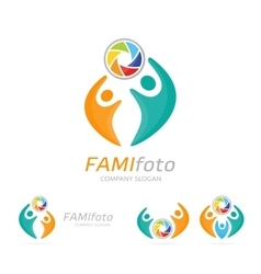 Photo camera and people logo combination vector