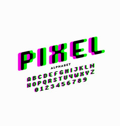 pixel style font vector image