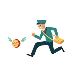 Postman in uniform catching up clock that fly away vector