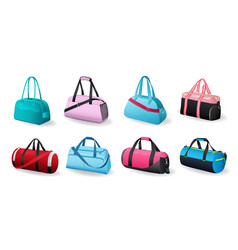 realistic sport bags set for sportswear and vector image