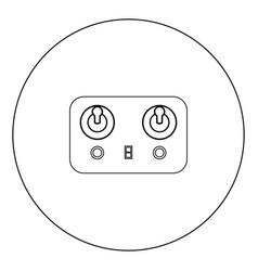 remote control icon black color in circle vector image