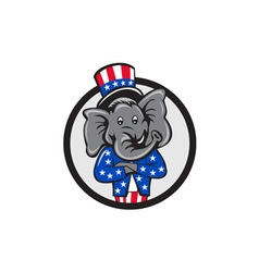Republican Elephant Mascot Arms Crossed Circle vector image