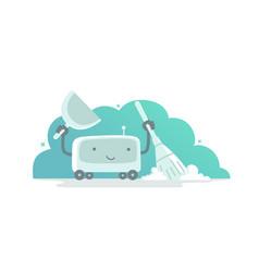Robot vacuum cleaner character flat vector