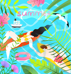 romantic honeymoon couple in aqua summer paradise vector image