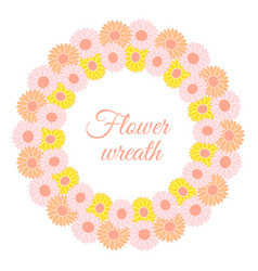 round spring wreath of gerberas and daisies vector image