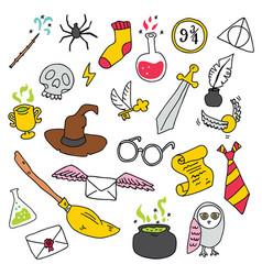 School magic set in doodle style vector