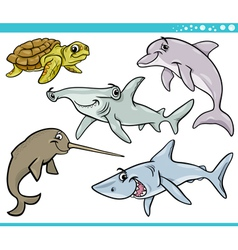 Sea life animals set cartoon vector