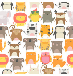 seamless pattern with cute animals on white vector image