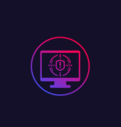 Security breach icon with computer vector
