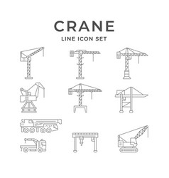 Set line icons crane vector