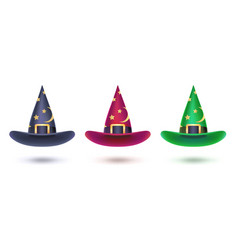 set witch hat with golden stars pattern design vector image