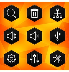 Settings Hexagonal icons set on abstract orange vector