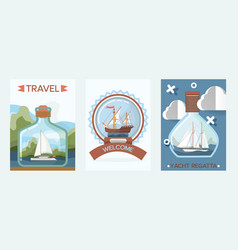 ship in bottle travel boat in miniature vector image