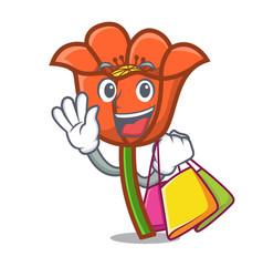 shopping poppy flower character cartoon vector image