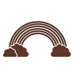 Silhouette of rainbow and clouds in brown vector