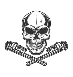 Skull and crossed pipe wrenches vector