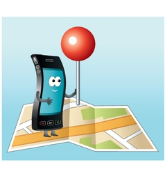 Smartphone with GPS icon vector image