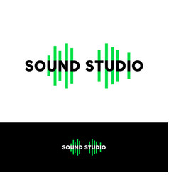 sound studio logo emblem green equalizer vector image